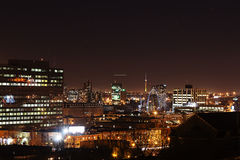 Montreal yellow orange city lights at night Stock Photos
