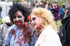 Montreal Zombie Walk, 2014 edition. MONTREAL, QUEBEC, CANADA - OCTOBER 25 - Montreal Zombie Walk. A zombie walk is a public manifestation, where participants royalty free stock image