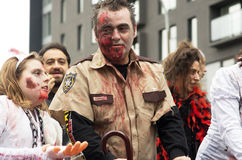 Montreal Zombie Walk. MONTREAL, QUEBEC, CANADA - OCTOBER 25 - Montreal Zombie Walk, La Marche Des Zombies edition 2014. A zombie walk is a public manifestation Royalty Free Stock Image