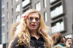 Montreal Zombie Walk. MONTREAL, QUEBEC, CANADA - OCTOBER 25 - Montreal Zombie Walk, La Marche Des Zombies edition 2014. A zombie walk is a public manifestation Stock Photography