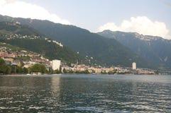 Montreaux door Meer Genève in de Zomer Stock Fotografie