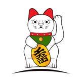 Montrer le chat du doigt, chat chanceux Photo stock
