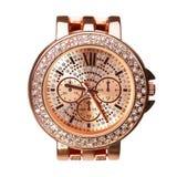 Montres-bracelet d'or avec des diamants d'isolement Photo libre de droits