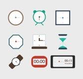 Montres dans différentes couleurs, icônes pour le Web, ensemble Étable plate Illustration Libre de Droits