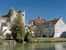 Montresor village and castle seen from the Indrois river, France Royalty Free Stock Photos
