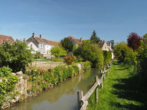 Montresor village, grass path along the Indrois  France Stock Images