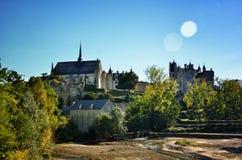 Montreuil-Bellay, γαλλικός τόπος προορισμού τουριστών, λεπτομέρεια του μεσαιωνικού κάστρου Στοκ Εικόνα