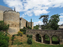Montreuil Bellay castle, France. Chateau montreuil bellay loire valley france, entrance bridge Royalty Free Stock Image