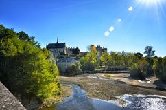 Montreuil-Bellay, French tourist destination, detail of the medieval castle Royalty Free Stock Images