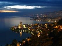 Montreux bij nacht, Zwitserland Stock Foto