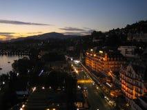Montreux bij Zonsondergang Stock Afbeelding