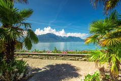 Montreux city with Swiss Alps, lake Geneva and  on Lavaux region, Canton Vaud, Switzerland, Europe.  royalty free stock photos