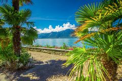 Montreux city with Swiss Alps, lake Geneva and  on Lavaux region, Canton Vaud, Switzerland, Europe.  stock images