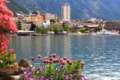 Montreux ed il lago Lemano, Svizzera. Immagine Stock Libera da Diritti