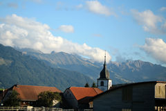 Montreux en alpiene bergen Royalty-vrije Stock Foto's