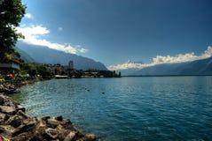 Montreux en Meer Genève Royalty-vrije Stock Foto's