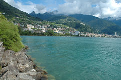 Montreux at Geneve lake in Switzerland Stock Photo