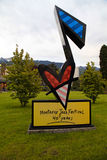 Montreux Jazz Festival Sign. MONTREUX,SWITZERLAND - MAY 08: Sign dedicated Montreux Jazz Festival stands in front of the Montreux Palace at May 08, 2013 in royalty free stock photography