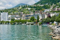 Montreux on lake Geneva. Lake Geneva in summer sun Royalty Free Stock Image