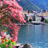 Montreux and  Lake Geneva, Switzerland. Stock Photo