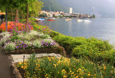 Montreux and  Lake Geneva, Switzerland. Royalty Free Stock Images