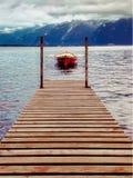 Montreux lake Geneva Switzerland red boat royalty free stock image