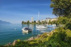 Montreux, Meer Genève, Zwitserland Stock Foto's