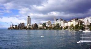 Montreux op Meer Genève Stock Afbeeldingen
