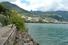 Montreux på Geneve sjön i Schweiz Royaltyfri Fotografi