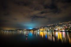 Montreux på natten Arkivbild