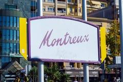 Montreux Schweiz - Oktober 18, 2017: Skylt med namen Arkivfoton