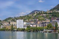 Montreux sjöGenève, Schweiz Arkivbild