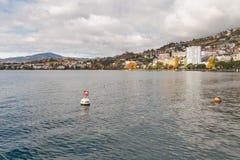 MONTREUX, SUISSE - 29 OCTOBRE 2015 : Vue d'Autumn Panoramic de Montreux et de Lac Léman, Suisse Photos libres de droits