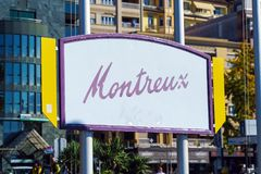 Montreux, Svizzera - 18 ottobre 2017: Insegna con il nam Fotografie Stock