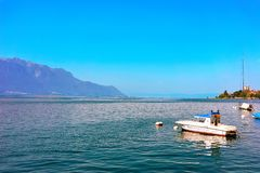 Montreux, Switzerland - August 28, 2016: Boat on Geneva Lake of Montreux, Swiss Riviera. Montreux, Switzerland - August 28, 2016: Boat on Geneva Lake of Montreux stock photography