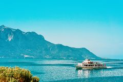 Montreux, Switzerland - August 28, 2016: Excursion cruiser on Geneva Lake of Montreux, Swiss Riviera. Montreux, Switzerland - August 28, 2016: Excursion cruiser royalty free stock photos