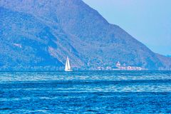 Montreux, Switzerland - August 28, 2016: Sailing boat on Geneva Lake of Montreux, Swiss Riviera. Montreux, Switzerland - August 28, 2016: Sailing boat on Geneva royalty free stock image