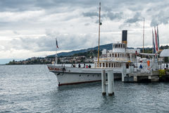 MONTREUX, SWITZERLAND/ EUROPE - SEPTEMBER 14: People boarding a stock photo