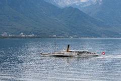 MONTREUX, SWITZERLAND/ EUROPE - SEPTEMBER 15: Vevey steaming along Lake Geneva near Montreux in Switzerland on September royalty free stock photos