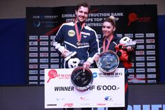 SZOCS Bernadette and Timo Boll winners. Montreux, Switzerland, 3 February 2018. Awards at the ITTF European Top 16 Royalty Free Stock Photography