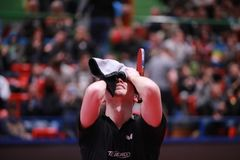 GROTH Jonathan from Denmark crying. Montreux, Switzerland, 3 February 2018. GROTH Jonathan third place at the ITTF European Top 16 Royalty Free Stock Image