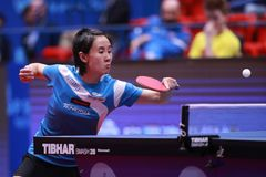 LIU Jia from Austria backhand. Montreux, Switzerland, 3 February 2018. LIU Jia from Austria backhand. First Round at the ITTF European Top 16 Stock Photos