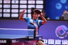 LIU Jia from Austria top spin. Montreux, Switzerland, 3 February 2018. LIU Jia from Austria top spin. First Round at the ITTF European Top 16 royalty free stock photos