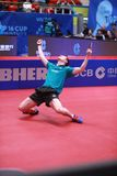 GROTH Jonathan from Denmark celebrate. Montreux, Switzerland, 3 February 2018. Quarter final at the ITTF European Top 16 Royalty Free Stock Images