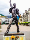 Montreux, Switzerland - June 26, 2012: Freddie Mercury bronze statue, a british singer and the lead vocalist of rock band Queen stock photos