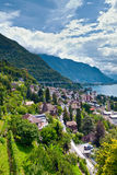 Montreux town and Lake Leman. In Switzerland royalty free stock image