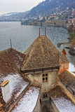 Montreux View from Chillon Castle on Geneva Lake Stock Images