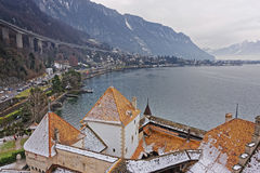 Montreux View from Tower of Chillon Castle on Geneva Lake Royalty Free Stock Images