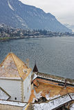 Montreux View from Towers of Chillon Castle on Geneva Lake Stock Photos