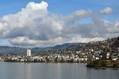 Montreux, viewed from Lake Geneva Stock Image
